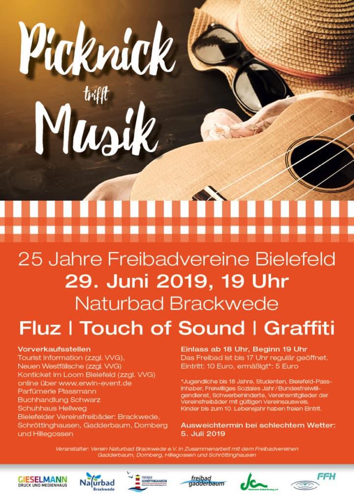 Picknick trifft Musik - 25 Jahre Freibadvereine Bielefeld. Am 29. Juni 2019, 19 Uhr im Naturbad Brackwede.